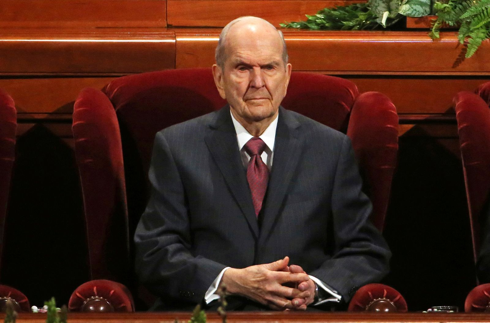 Church President Russell M. Nelson looks on during The Church of Jesus Christ of Latter-day Saints' conference Saturday, April 6, 2019, in Salt Lake City. Church members are preparing for more changes as they gather in Utah for a twice-yearly conference to hear from the faith's top leaders. (AP Photo/Rick Bowmer)