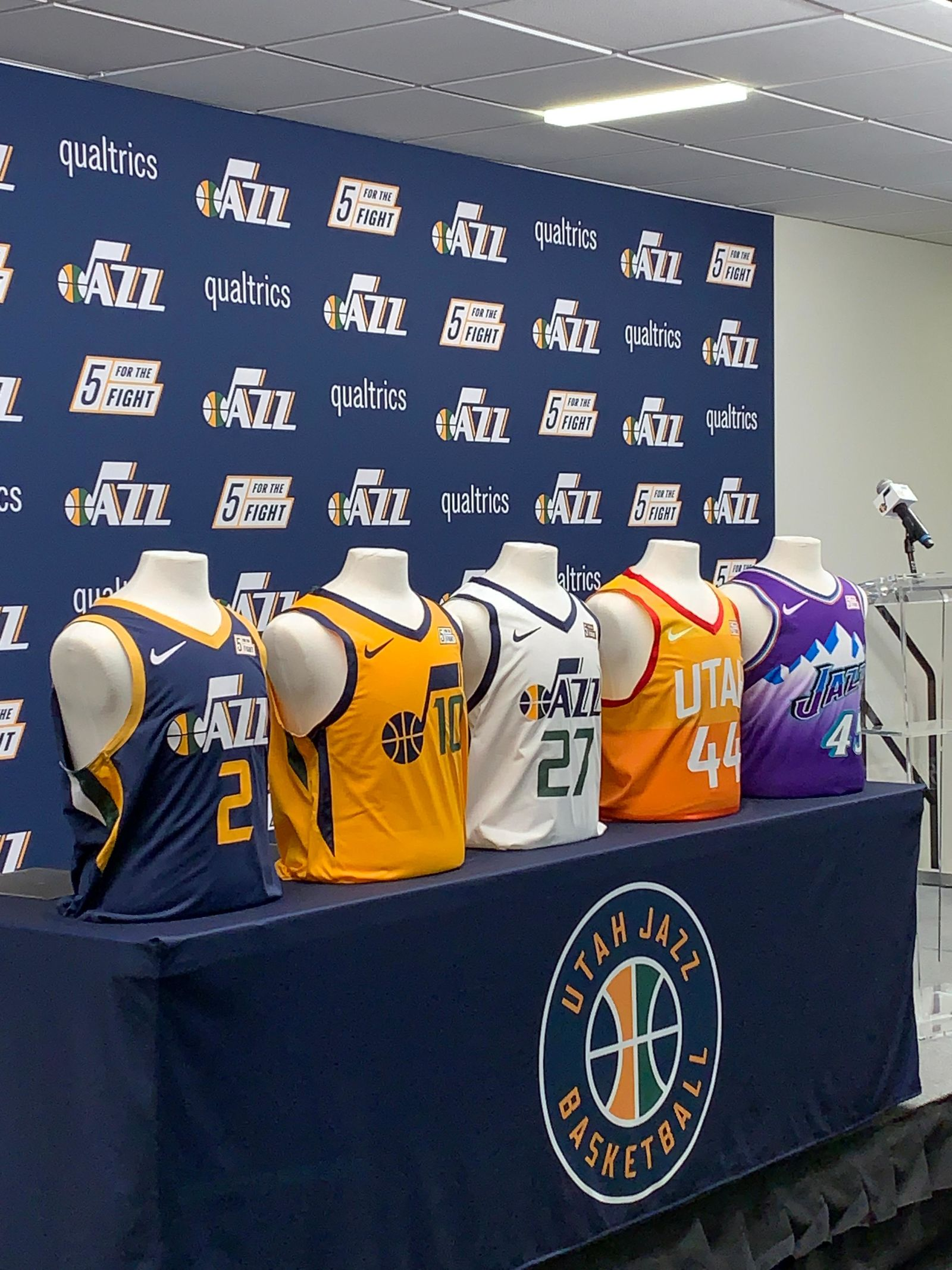 Five Utah Jazz jerseys in honor of Five for the Fight. (Photo: Adam Forgie, KUTV)