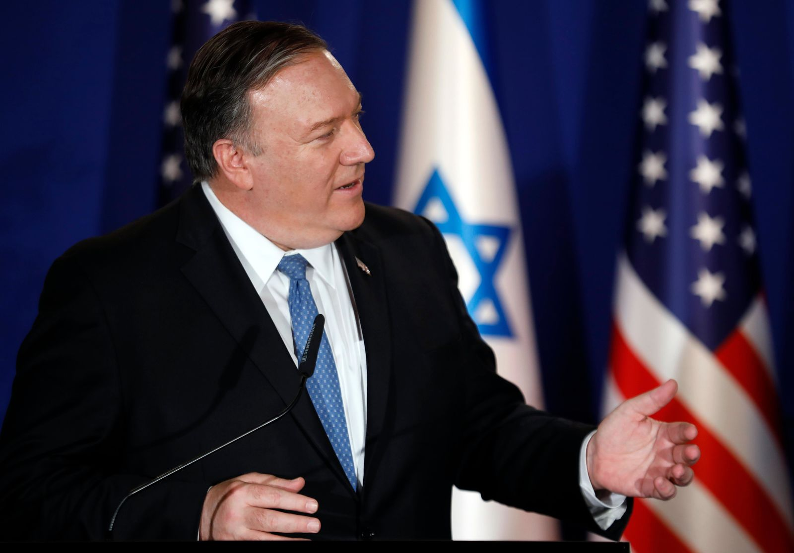 "U.S. Secretary of State Mike Pompeo speaks during a joint press conference with Israeli Prime Minister Benjamin Netanyahu, at Netanyahu's official residence in Jerusalem, Thursday March 21, 2019. Netanyahu has praised U.S. President Donald Trump's recognition of its control over the Golan Heights as a holiday ""miracle.""  (Amir Cohen/Pool via AP)"