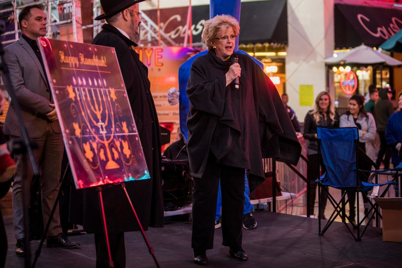 Las Vegas Mayor Carolyn Goodman speaks before the lighting of the Grand Menorah in downtown Las Vegas on Sunday, Dec. 2. The 20-foot Grand Menorah will remain on display throughout the Hanukkah season. CREDIT: Joe Buglewicz/Las Vegas News Bureau