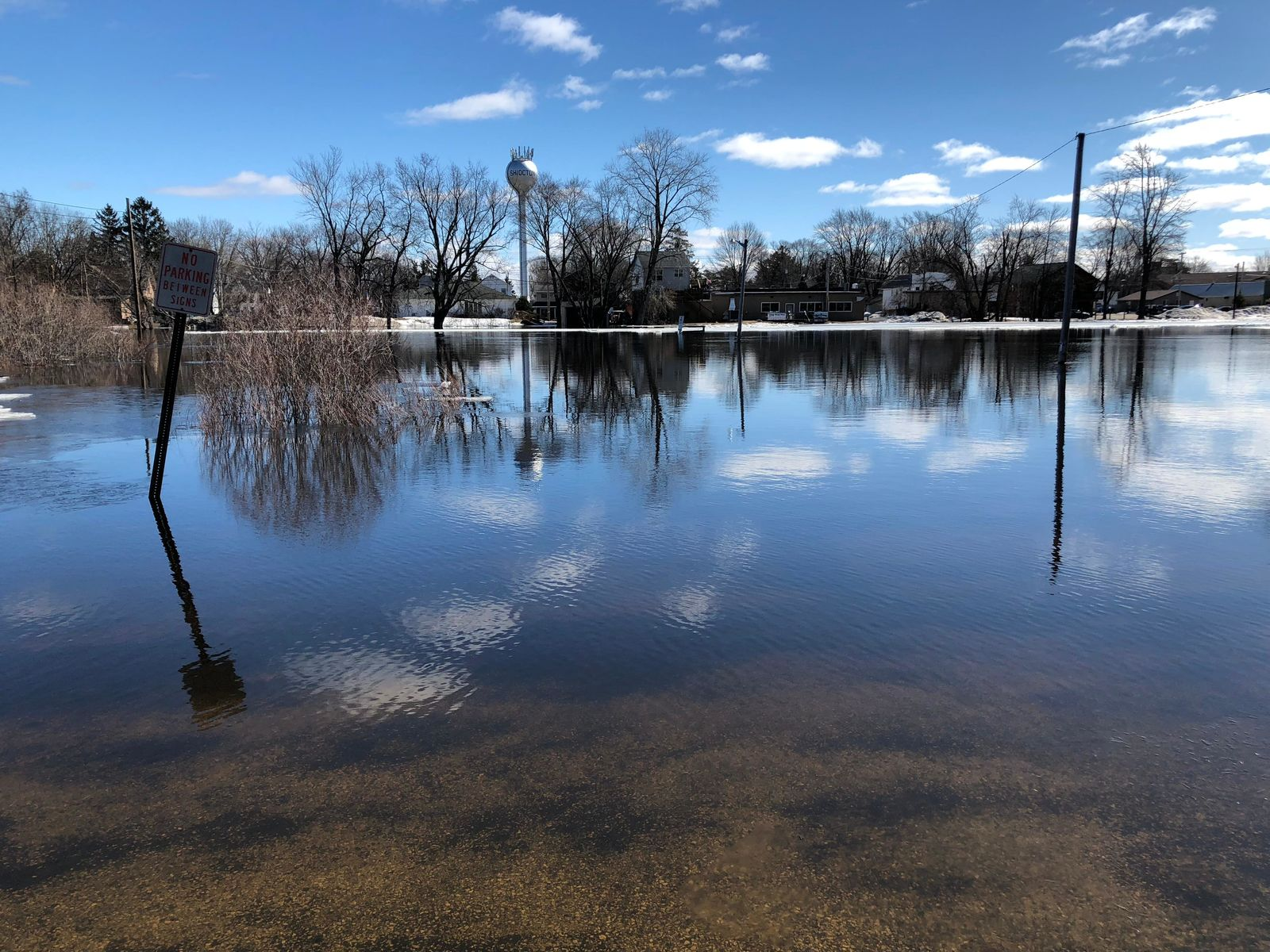 The Wolf River overflows its banks in Shiocton March 22, 2019. (WLUK/Eric Peterson)