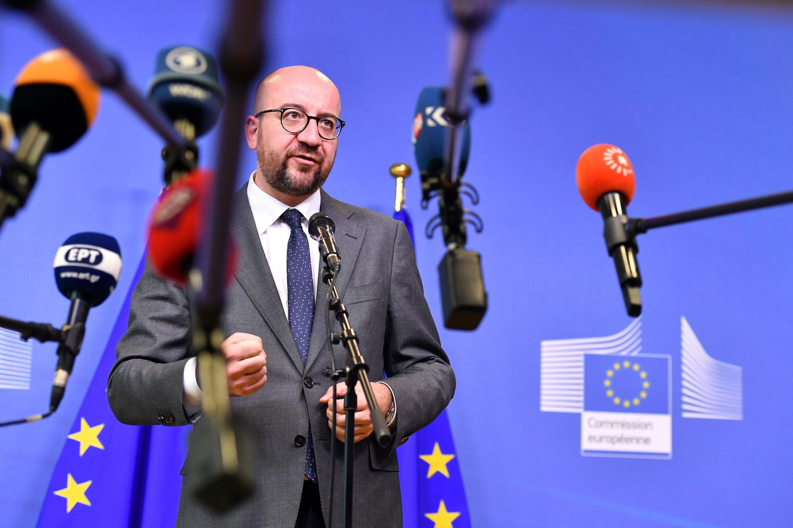 In this June 24, 2018 file photo, Belgian Prime Minister Charles Michel speaks with the media at the conclusion of an informal EU summit on migration at EU headquarters in Brussels.{ } (AP Photo/Geert Vanden Wijngaert)