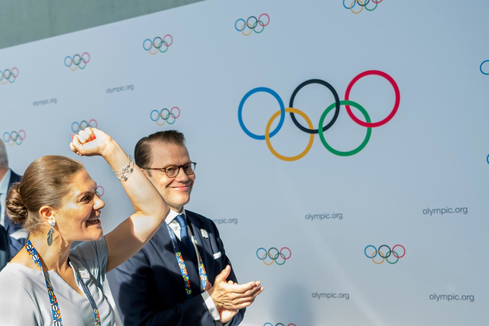 Sweden's Crown Princess Victoria, left, and Prince Daniel, right, react during the first day of the 134th Session of the International Olympic Committee (IOC), at the SwissTech Convention Centre, in Lausanne, Switzerland, Monday, June 24, 2019. (Jean-Christophe Bott)/Keystone via AP)