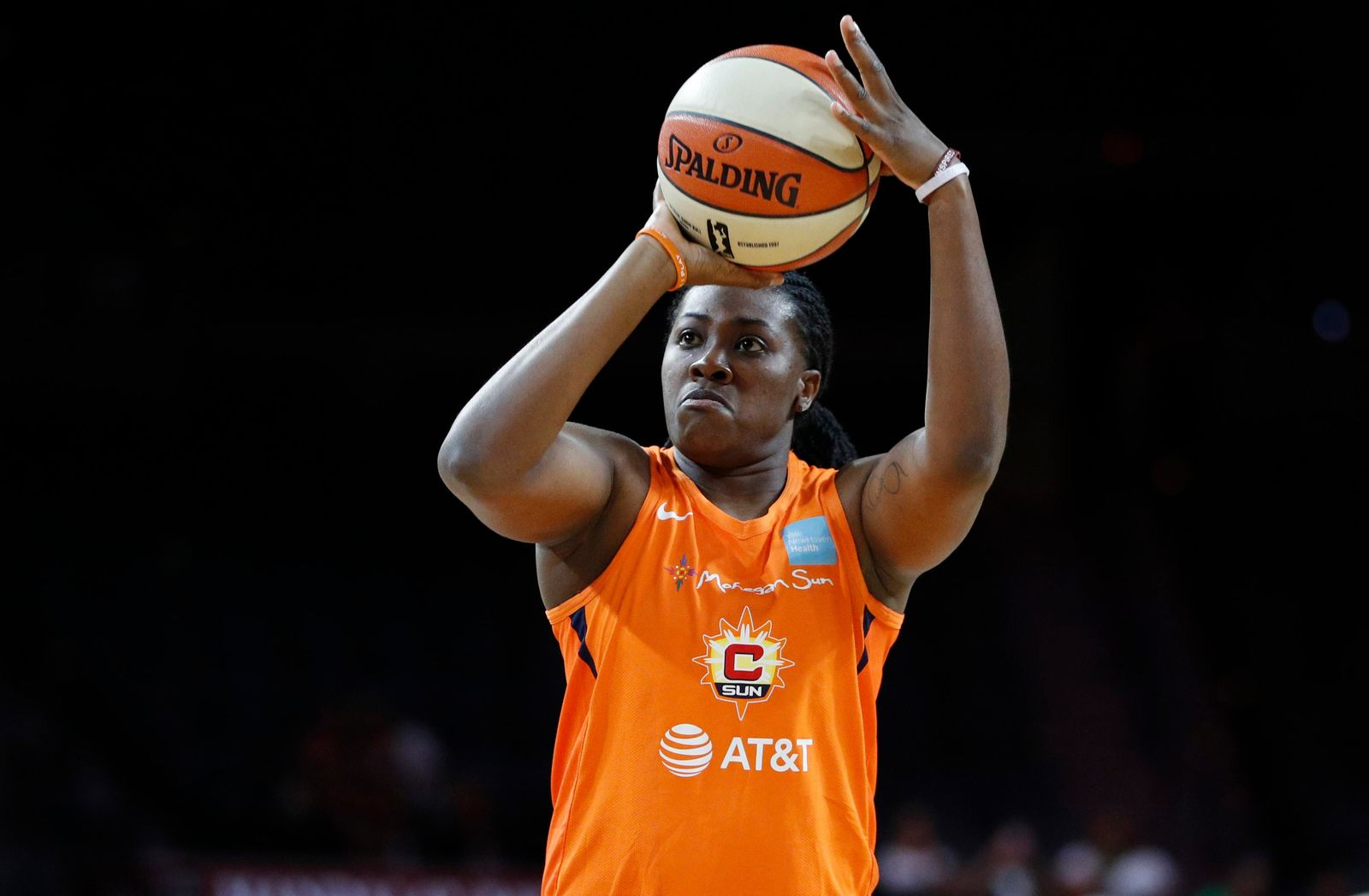 FILE - In this July 26, 2019, file photo, Connecticut Sun's Shekinna Stricklen shoots during the WNBA All-Star 3-point contest in Las Vegas. (AP Photo/John Locher, File)