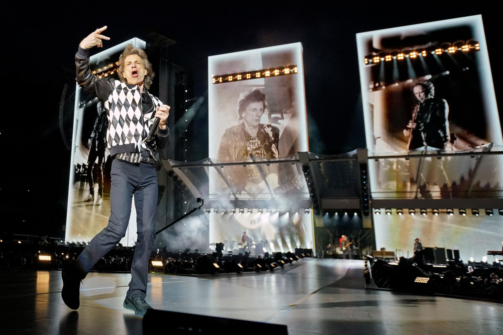"Mick Jagger of the Rolling Stones performs during the ""No Filter"" tour at Soldier Field on Friday, June 21, 2019, in Chicago. (Photo by Rob Grabowski/Invision/AP)"