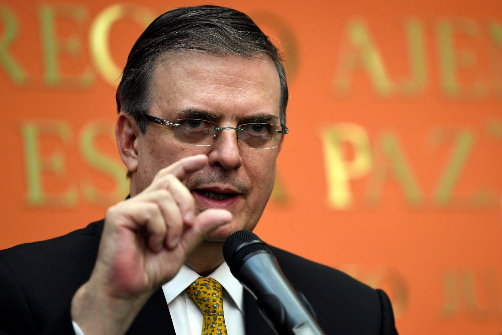 Mexican Foreign Minister Marcelo Ebrard speaks during a news conference at the Embassy of Mexico in Washington, Tuesday, Sept. 10, 2019. (AP Photo/Susan Walsh)