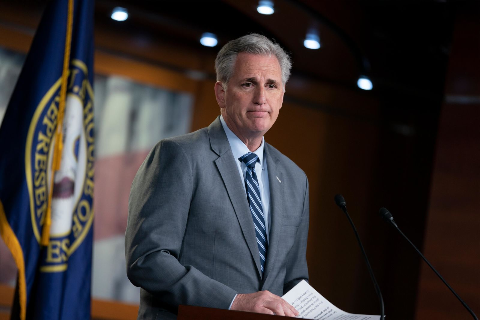 House Minority Leader Kevin McCarthy, R-Calif., speaks to reporters at a news conference on Capitol Hill in Washington, Thursday, April 4, 2019. (AP Photo/J. Scott Applewhite)