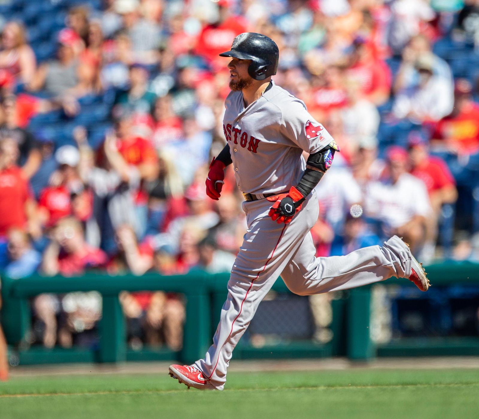 Boston Red Sox's Christian Vazquez runs the bases after hitting a grand slam during the third inning of a baseball game against the Philadelphia Phillies, Sunday, Sept. 15, 2019, in Philadelphia. (AP Photo/Laurence Kesterson)