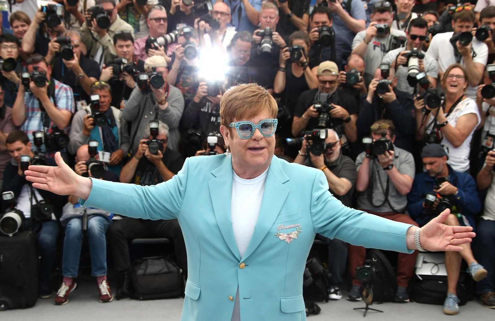 Singer Elton John poses for photographers at the photo call for the film 'Rocketman' at the 72nd international film festival, Cannes, southern France, Thursday, May 16, 2019. (Photo by Joel C Ryan/Invision/AP)
