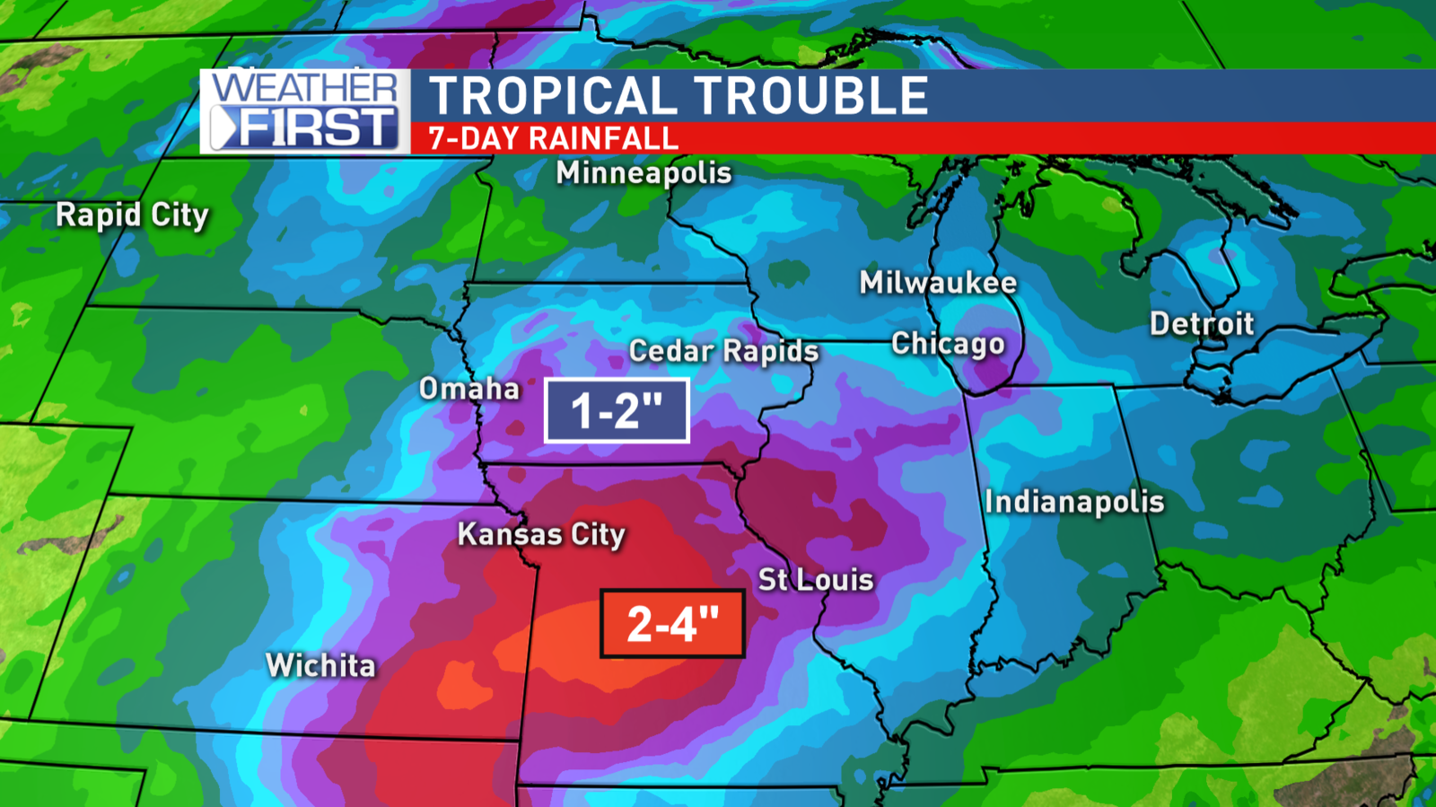 Heavy rainfall possible over the next several days.