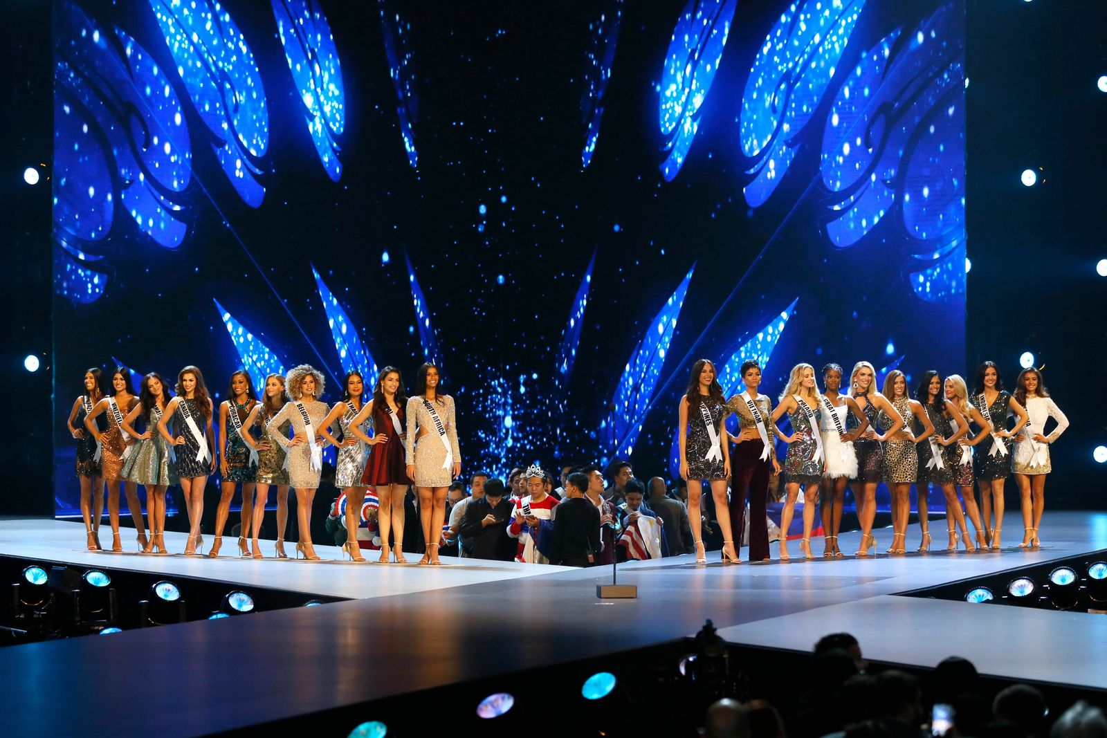 Finalists stand on stage during the final of 67th Miss Universe competition in Bangkok, Thailand, Monday, Dec. 17, 2018.(AP Photo/Gemunu Amarasinghe)