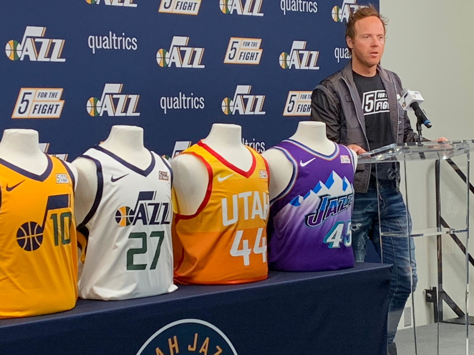 Ryan Smith, co-founder and CEO of Qualtrics, co-founder 5 For The Fight speaks at a press conference on Monday, October 21, 2019. (Photo: Adam Forgie, KUTV)