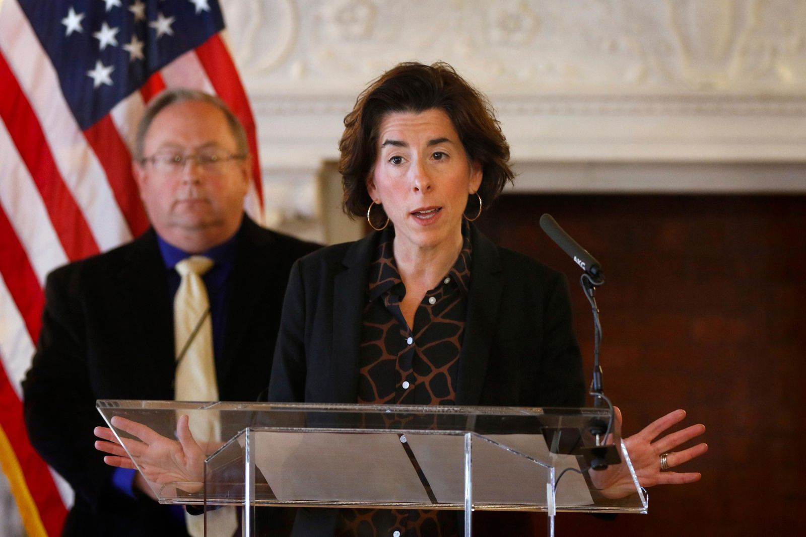 FILE - In this Sunday, March 22, 2020 file photo, Gov. Gina Raimondo gives an update on the coronavirus during a news conference in the State Room of the Rhode Island State House in Providence, R.I.{ } (Kris Craig/Providence Journal via AP, Pool)