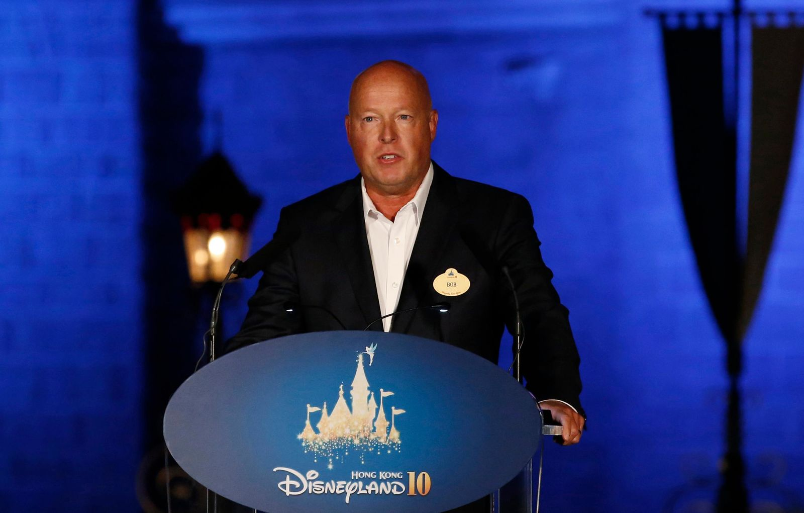 FILE - In this Sept. 11, 2015 file photo, Chairman of Walt Disney Parks and Resorts Bob Chapek speaks during a ceremony at the Hong Kong Disneyland. The Walt Disney Co. has named Chapek CEO, replacing Bob Iger, announced Tuesday, Feb. 25, 2020.    (AP Photo/Kin Cheung, File)