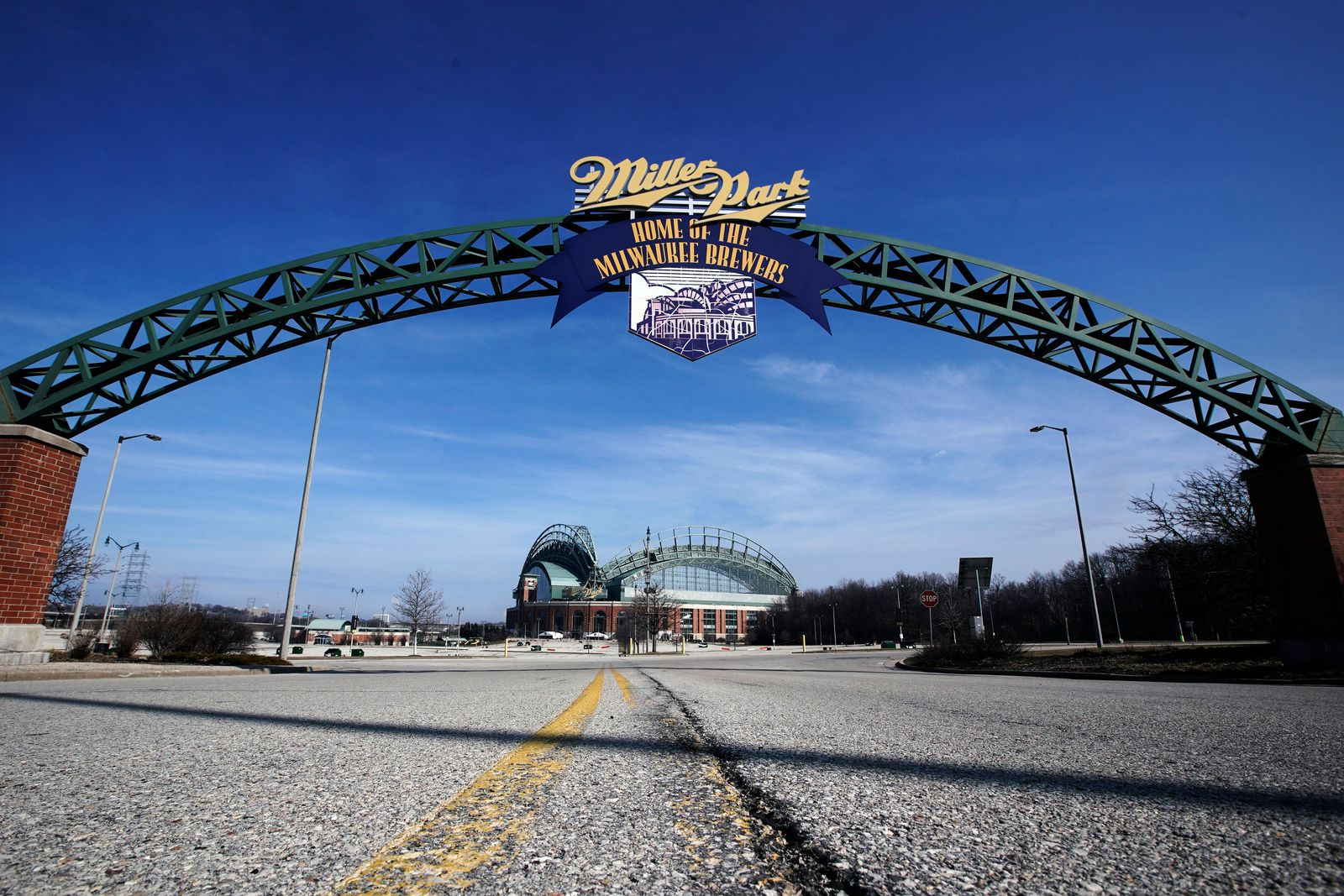 FILE - In this March 24, 2020, file photo, Miller Park is seen in Milwaukee. The Brewers were supposed to host Opening Day on Thursday, March 26, 2020, but the season start was postponed by Major League Baseball because of the coronoavirus pandemic. (AP Photo/Morry Gash, File)