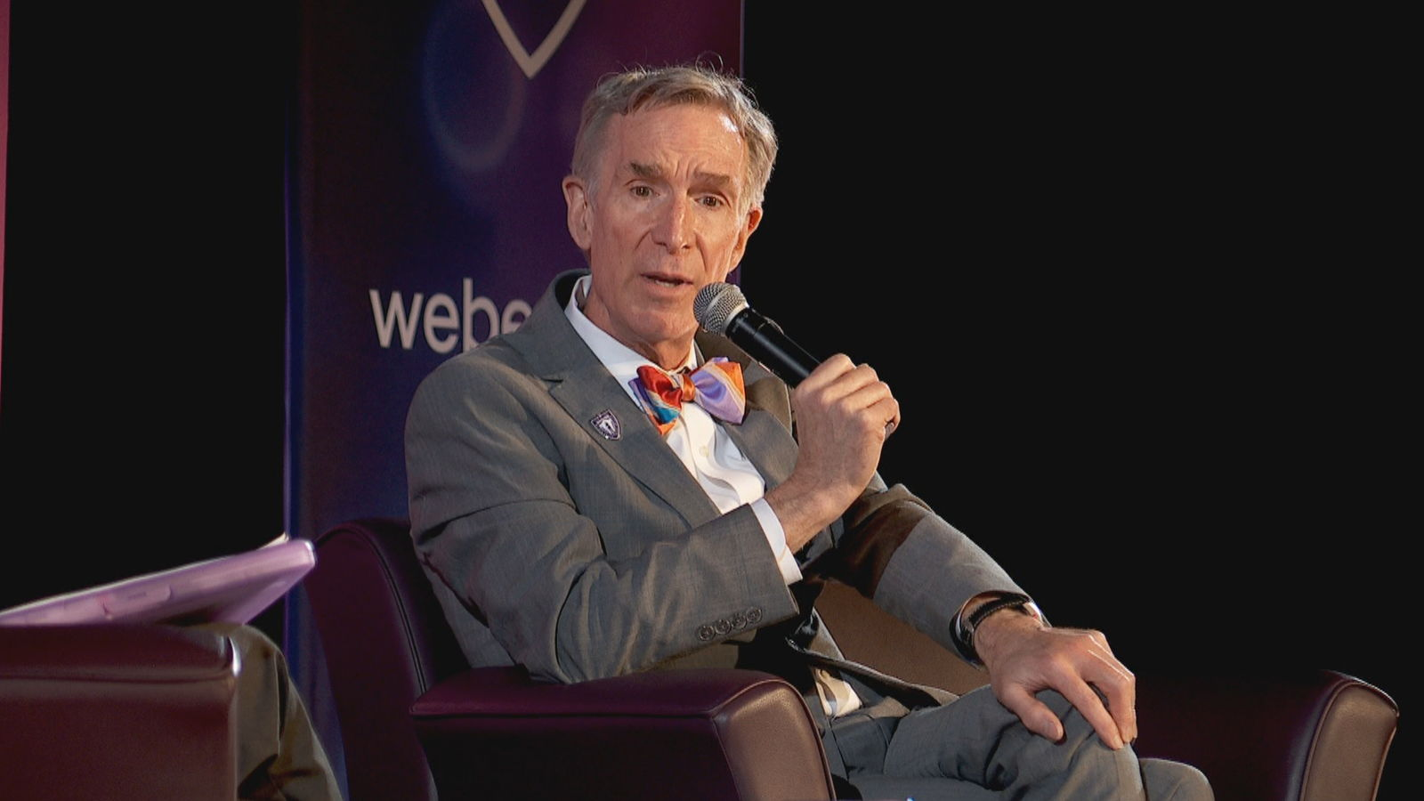 Bill Nye{ }engaged a packed audience at the Weber State University Dee Events Center in a 90-minute moderated conversation on Wednesday. (Photo: KUTV)