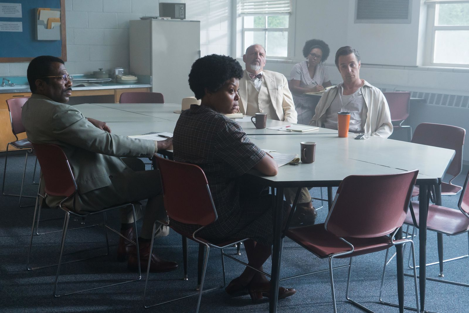 (L-R) Gilbert Glenn Brown, Taraji P. Henson, Nick Searcy and Sam Rockwell star in THE BEST OF ENEMIES{ }(Photo: STX Entertainment)