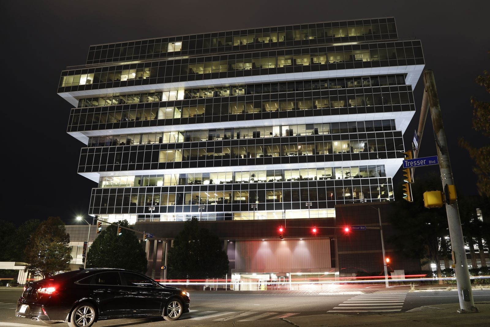 Cars pass Purdue Pharma headquarters Thursday, Sept. 12, 2019, in Stamford, Conn. (AP Photo/Frank Franklin II)