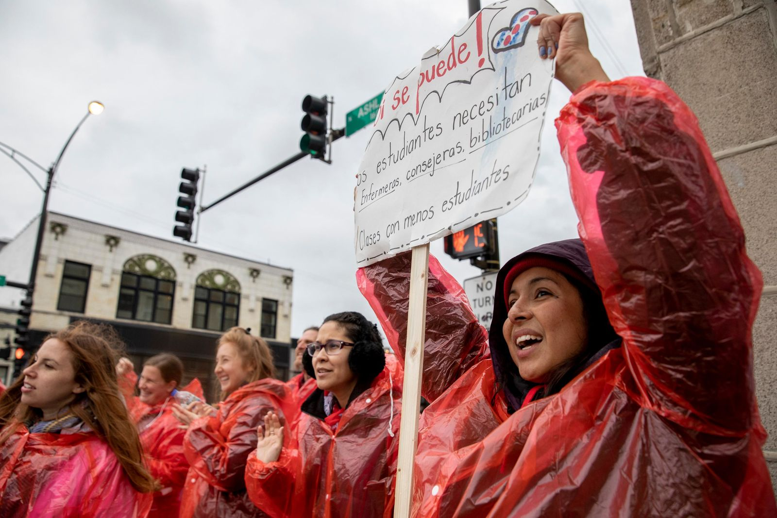 Faculty from Talcott Fine Arts and Museum Academy strike with the Chicago Teachers Union on the corner of N. Ashland Avenue and W. Chicago Avenue in West Town of Chicago on Monday, Oct. 21, 2019. (Camille Fine/Chicago Tribune via AP)