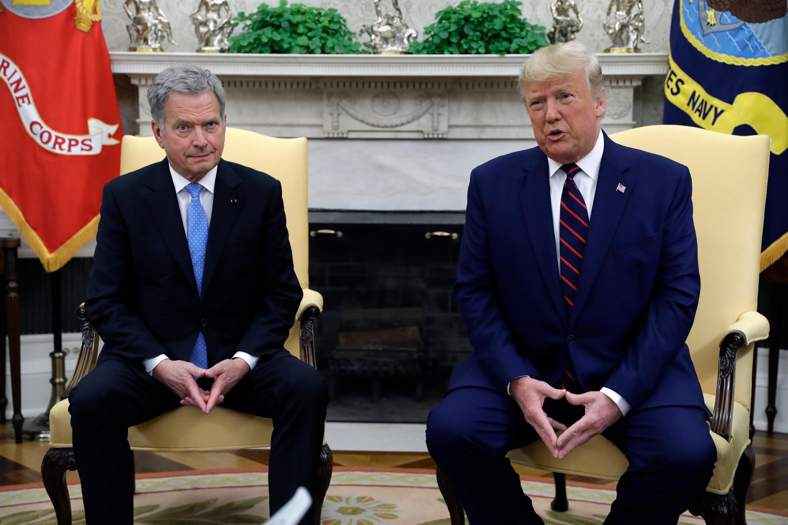 President Donald Trump meets Finnish President Sauli Niinisto in the Oval Office of the White House, Wednesday, Oct. 2, 2019, in Washington. (AP Photo/Evan Vucci)