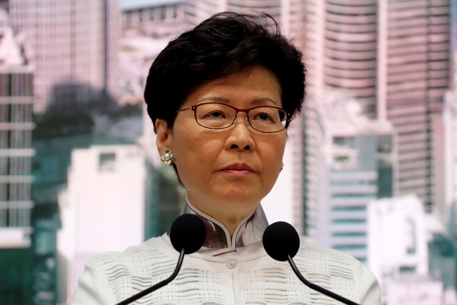 Hong Kong's Chief Executive Carrie Lam speaks at a press conference in Hong Kong Saturday, June 15, 2019. (AP Photo/Kin Cheung)