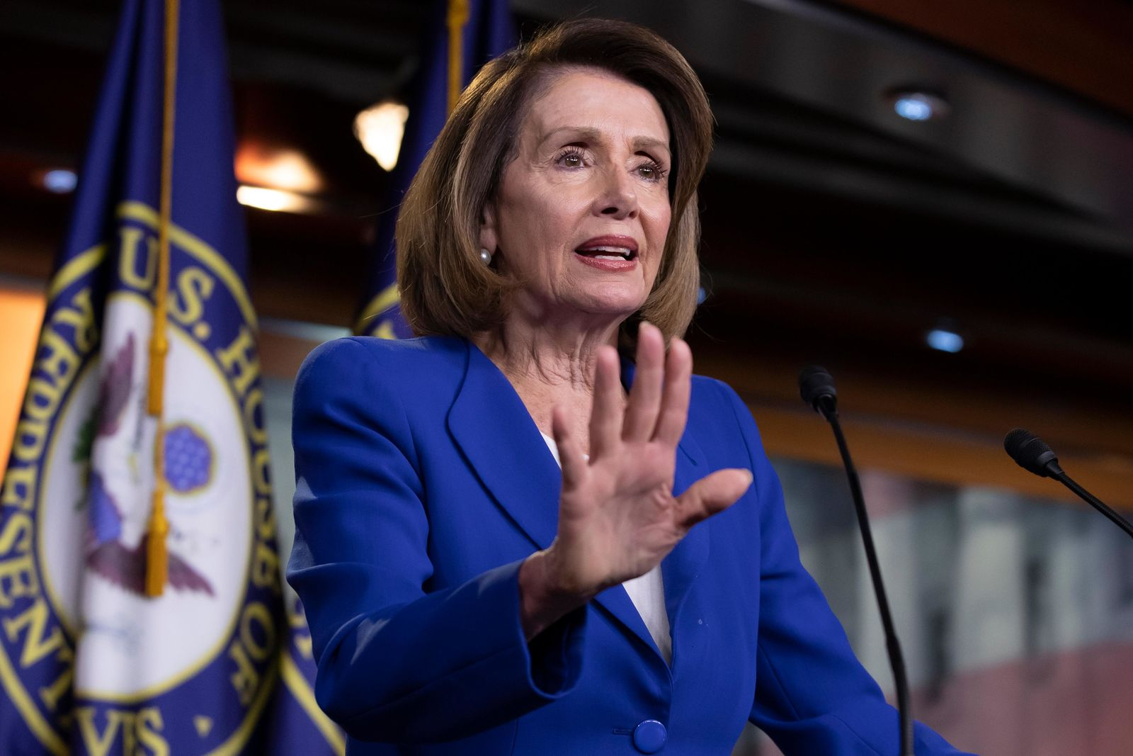 Speaker of the House Nancy Pelosi, D-Calif., talks to reporters during a news conference a day after a bipartisan group of House and Senate bargainers met to craft a border security compromise aimed at avoiding another government shutdown. (AP Photo/J. Scott Applewhite)