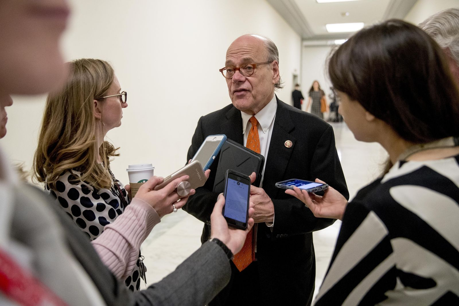Rep. Steve Cohen, D-Tenn., speaks to reporters following a House Judiciary Committee hearing without former White House Counsel Don McGahn, who was a key figure in special counsel Robert Mueller's investigation, on Capitol Hill in Washington, Tuesday, May 21, 2019. President Donald Trump directed McGahn to defy a congressional subpoena to testify but the committee's chairman, Rep. Jerrold Nadler, D-N.Y., has threatened to hold McGahn in contempt of Congress if he doesn't appear. (AP Photo/Andrew Harnik)