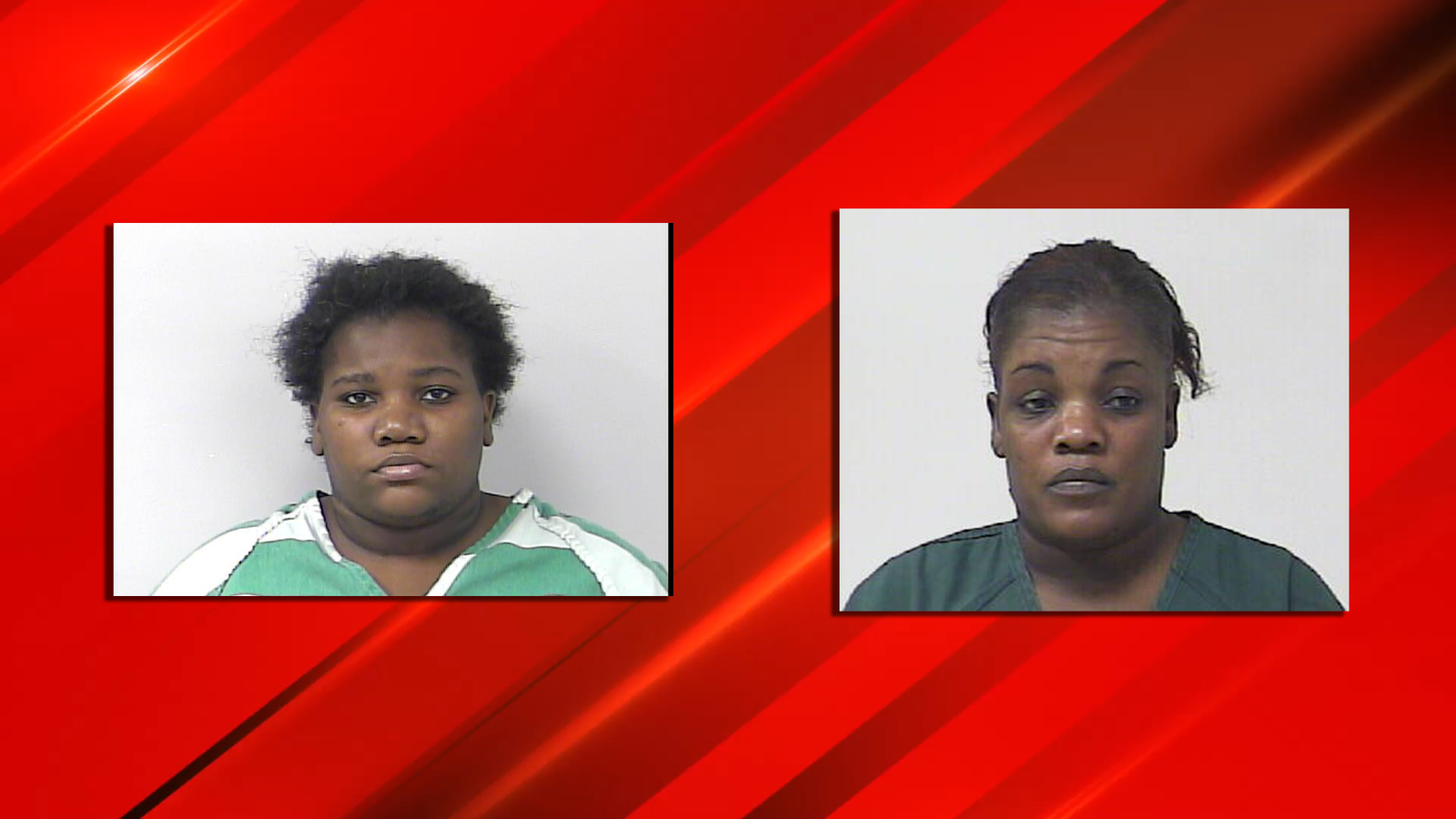Julie Belliard, 35, (left) and Marie Pierre, 55, (right) are charged with child neglect after police say a nine-year-old boy was stabbed by a four-year-old girl. (PSLPD){ }