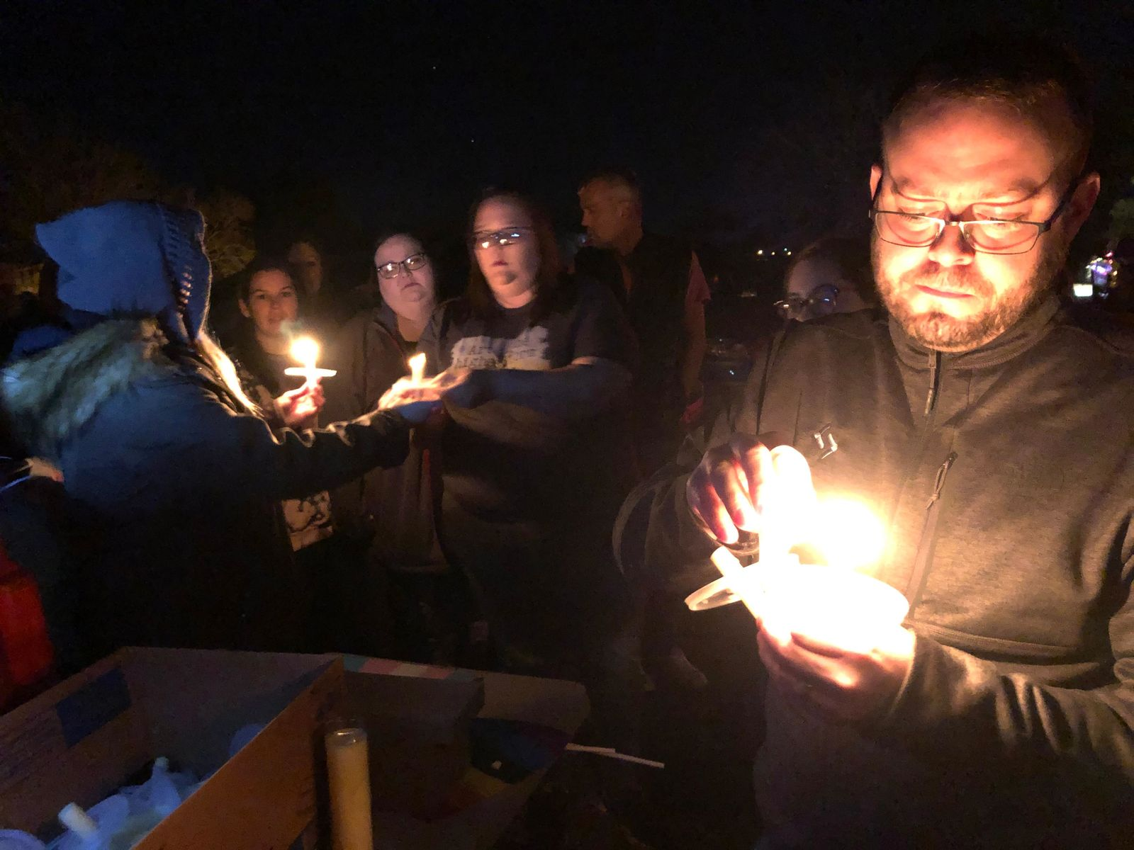 Vigil for Dustin Parker, a McAlester taxi cab driver who was found shot New Year's Day. Friday, Jan. 3, 2020. (Mummolo/KTUL)