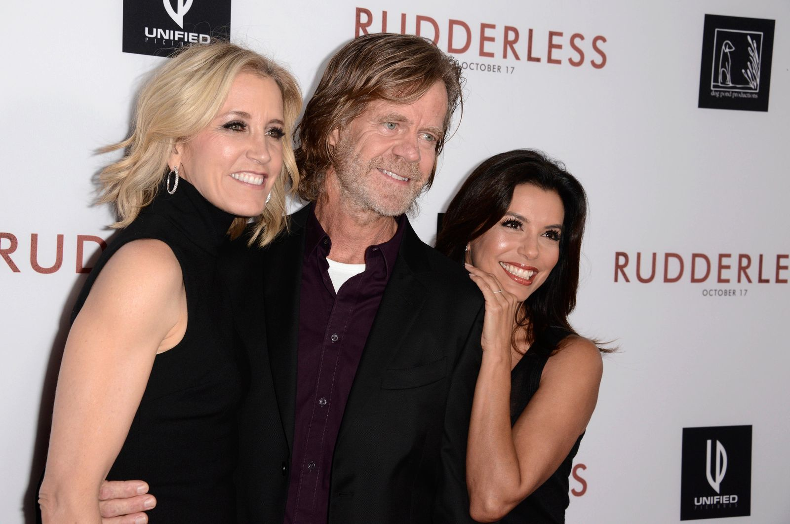 "FILE - In this  Tuesday, Oct. 7, 2014 file photo,Felicity Huffman, from left, writer/director William H. Macy and Eva Longoria arrive at the Los Angeles VIP screening of ""Rudderless"" at The Vista Theater. (Photo by Dan Steinberg/Invision/AP, File)"