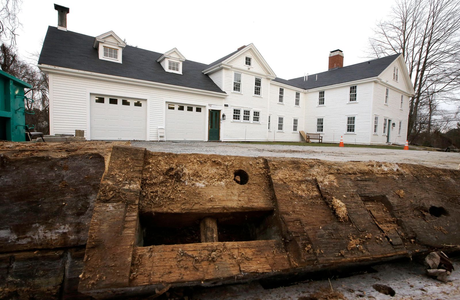 n this Thursday, Dec. 13, 2018 photo, a discarded beam rests in the driveway of the home where Sarah Clayes lived, in Framingham, Mass., after leaving Salem, Mass., following the 1692 witch trials. Clayes was jailed during the witch trials but was freed in 1693 when the hysteria died down. (AP Photo/Steven Senne)