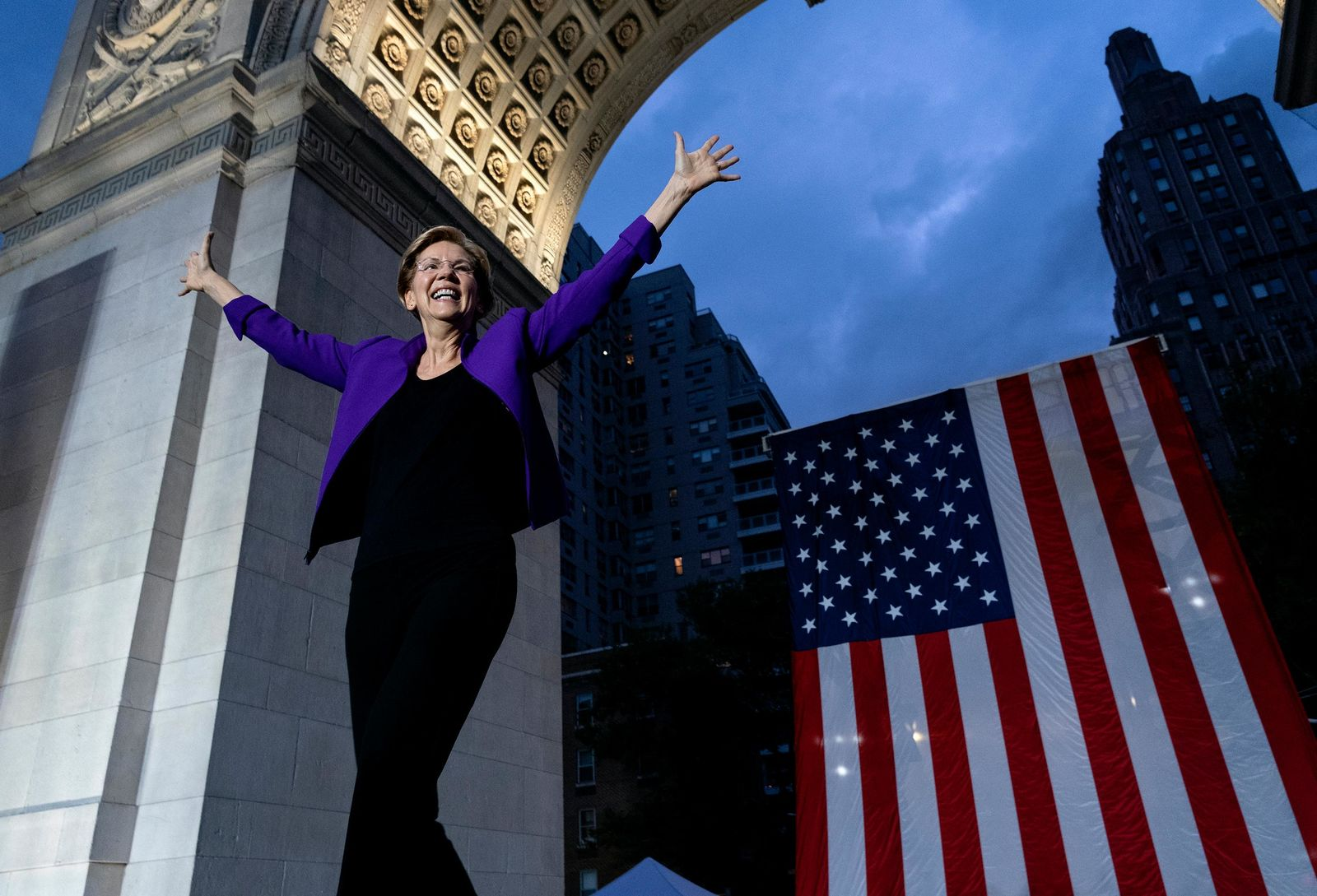 FILE- Democratic presidential candidate U.S. Sen. Elizabeth Warren takes the stage before addressing supporters at a rally, Monday, Sept. 16, 2019, in New York. (AP Photo/Craig Ruttle)
