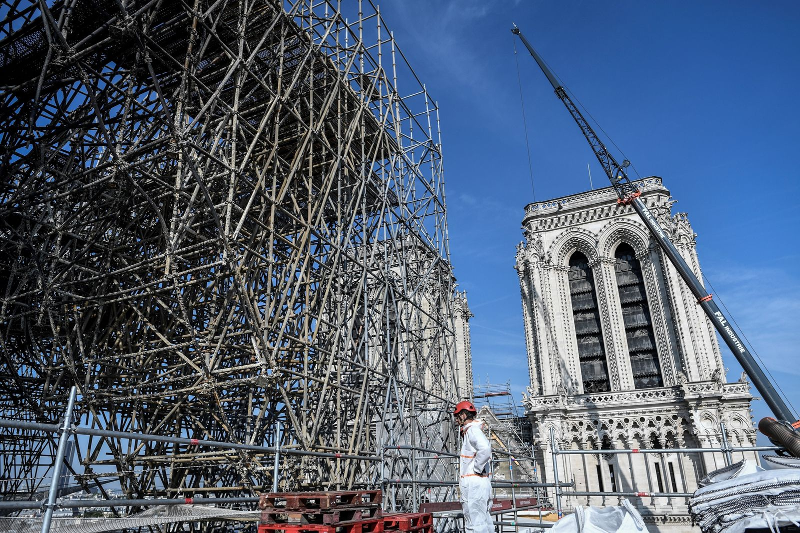 Scaffolding is seen during preliminary work on top of the Notre-Dame de Paris Cathedral, Wednesday, July 17, 2019 in Paris. (Stephane de Sakutin/Pool via AP)