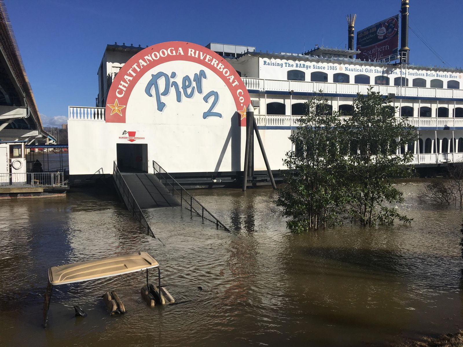Flood damage in 2019 at the Southern Belle Riverboat. Staff workers had to canoe to work. Jonathan Reinert, the general manager, says they've been dealing with flooding issues for years. (Image:{&nbsp;}Jonathan Reinert)<p></p>