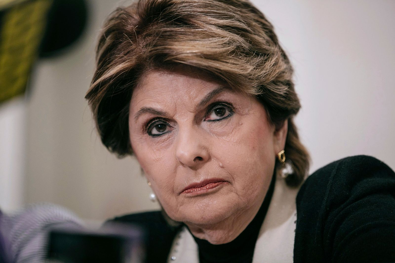 FILE- In this March 10, 2019 file photo, attorney Gloria Allred takes questions during a press conference in New York announcing a video tape said to present further evidence of wrongdoing by recording artist R. Kelly. Allred is among 10 people who will be inducted into the National Women's Hall of Fame during a ceremony on Saturday, Sept. 14, 2019. (AP Photo/Kevin Hagen, File)
