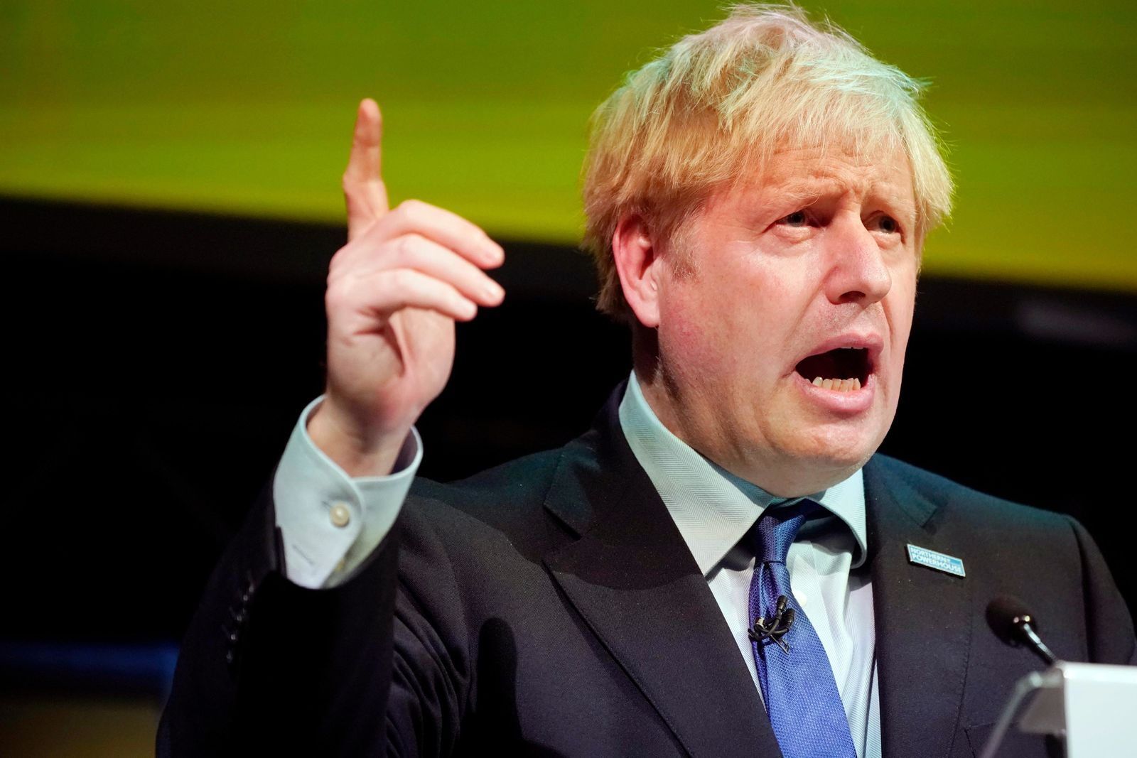 Britain's Prime Minister Boris Johnson makes a speech at the Convention of the North at the Magna Centre in Rotherham, England, Friday, Sept. 13, 2019.{ } (Christopher Furlong/Pool photo via AP)