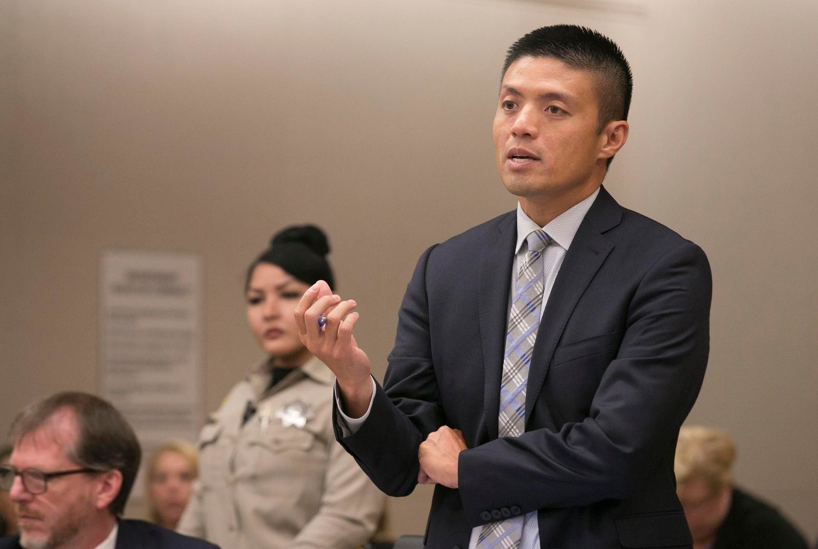 Deputy District Attorney Leonard Trinh questions witness Oscar Stewart during a preliminary hearing for John Earnest, Thursday, Sept. 19, 2019, in Superior Court in San Diego. Prosecutors say Earnest opened fire during a Passover service at the Chabad of Poway synagogue on April 27, killing one woman and injuring three people, including the rabbi. (John Gibbins/The San Diego Union-Tribune via AP, Pool)
