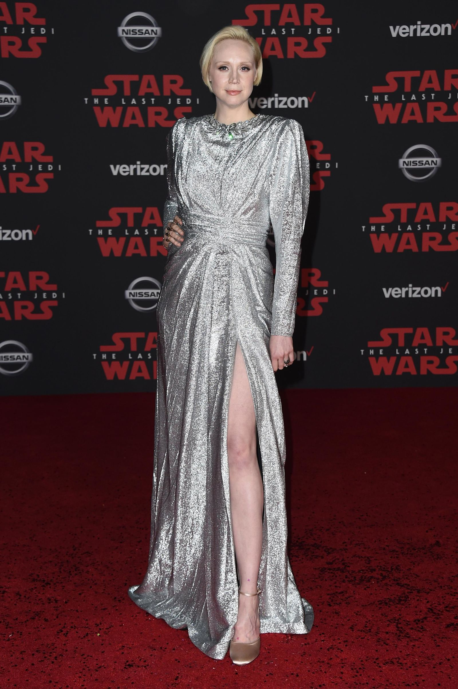 "Gwendoline Christie arrives at the Los Angeles premiere of ""Star Wars: The Last Jedi"" at the Shrine Auditorium on Saturday, Dec. 9, 2017 in Los Angeles. (Photo by Jordan Strauss/Invision/AP)"