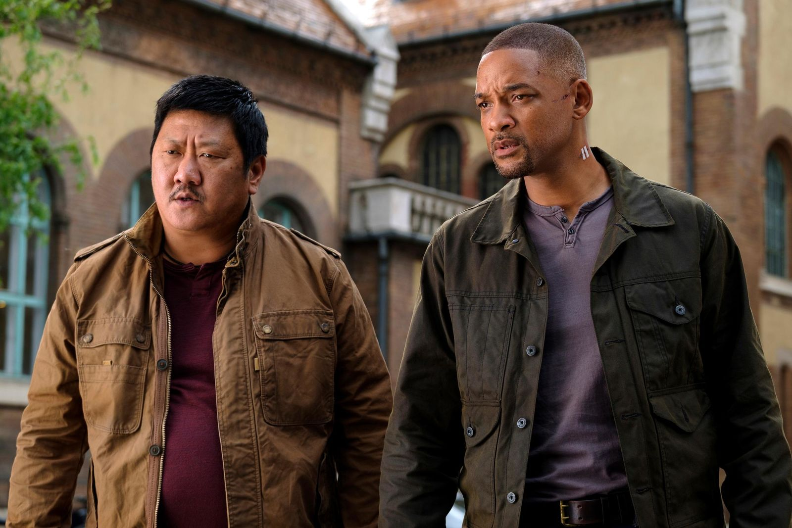 "This image released by Paramount Pictures shows Benedict Wong, left, and Will Smith in a scene from the Ang Lee film ""Gemini Man."" (Ben Rothstein/Paramount Pictures via AP)"