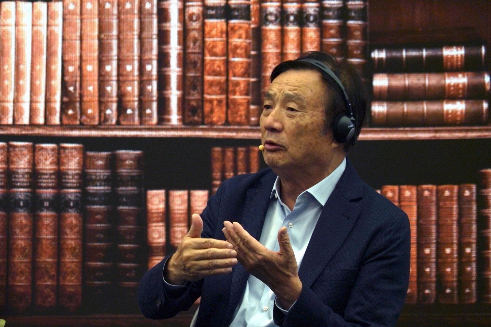 Huawei founder Ren Zhengfei speaks at a roundtable at the telecom giant's headquarters in Shenzhen in southern China on Monday, June 17, 2019. (AP Photo/Dake Kang)