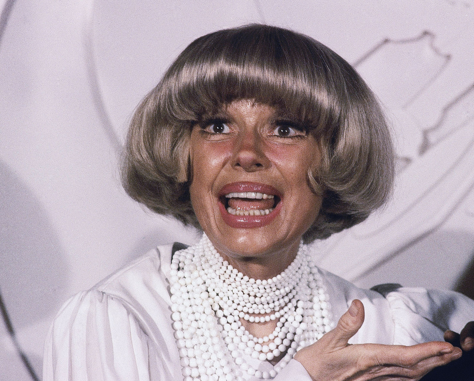 FILE - This Feb. 24, 1982 file photo shows actress Carol Channing at the Grammy Awards  in Los Angeles. (AP Photo/Doug Pizac, File)