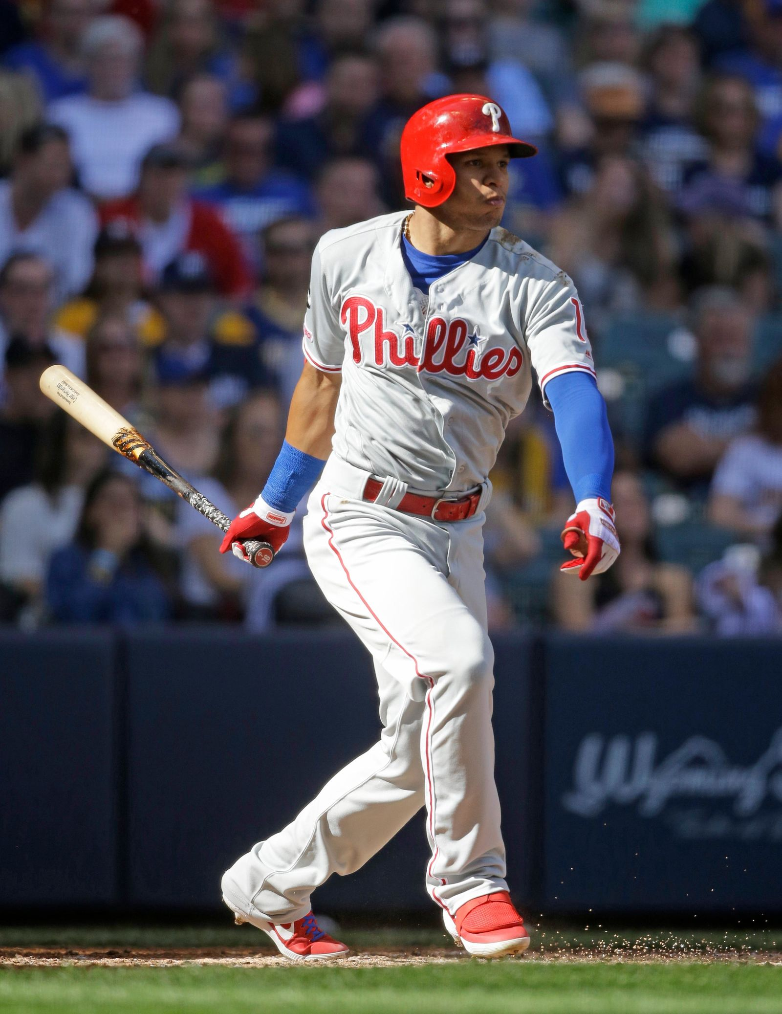 Philadelphia Phillies' Cesar Hernandez watches his run-scoring single against the Milwaukee Brewers during the fourth inning of a baseball game Saturday, May 25, 2019, in Milwaukee. (AP Photo/Jeffrey Phelps)