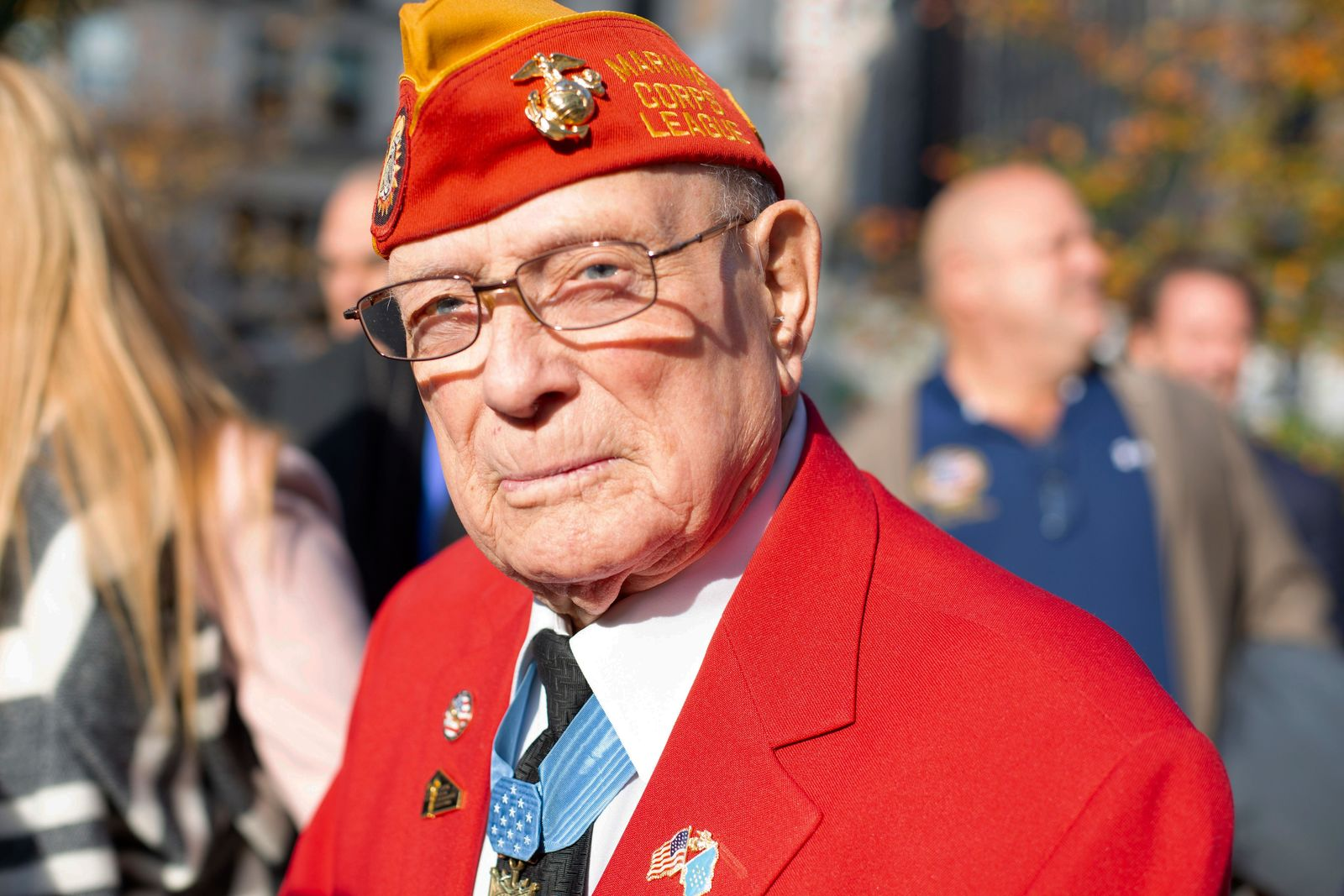 "Marine Corps Chief Warrant Officer Four Hershel ""Woody"" Williams is pictured at the 2019 New York City Veterans Day Parade, Nov. 11. Williams served as a grand marshal of the parade, which marked its centennial anniversary and honored the Marine Corps as its featured service. Formed Nov. 10, 1775, as naval augment forces capable of fighting both at sea and on shore, the Marine Corps has secured freedom in every major conflict America has faced. Together, the Navy-Marine Corps Team enables the joint force to partner together and operate on behalf of national defense in this era of great power competition. Steeped in the core values of honor, courage and commitment, Marines bring moral, physical, and intellectual strength to every situation. When their time in uniform is done, Marines use those qualities to continue to serve their communities. (U.S. Marine Corps photo by Cpl. Mario Ramirez)"