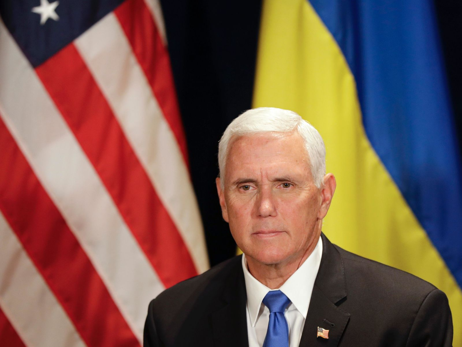 U.S. Vice President Mike Pence waits before a meeting with Ukraine's President Volodymyr Zelenskiy, in Warsaw, Poland, Sunday, Sept. 1, 2019. (AP Photo/Petr David Josek)