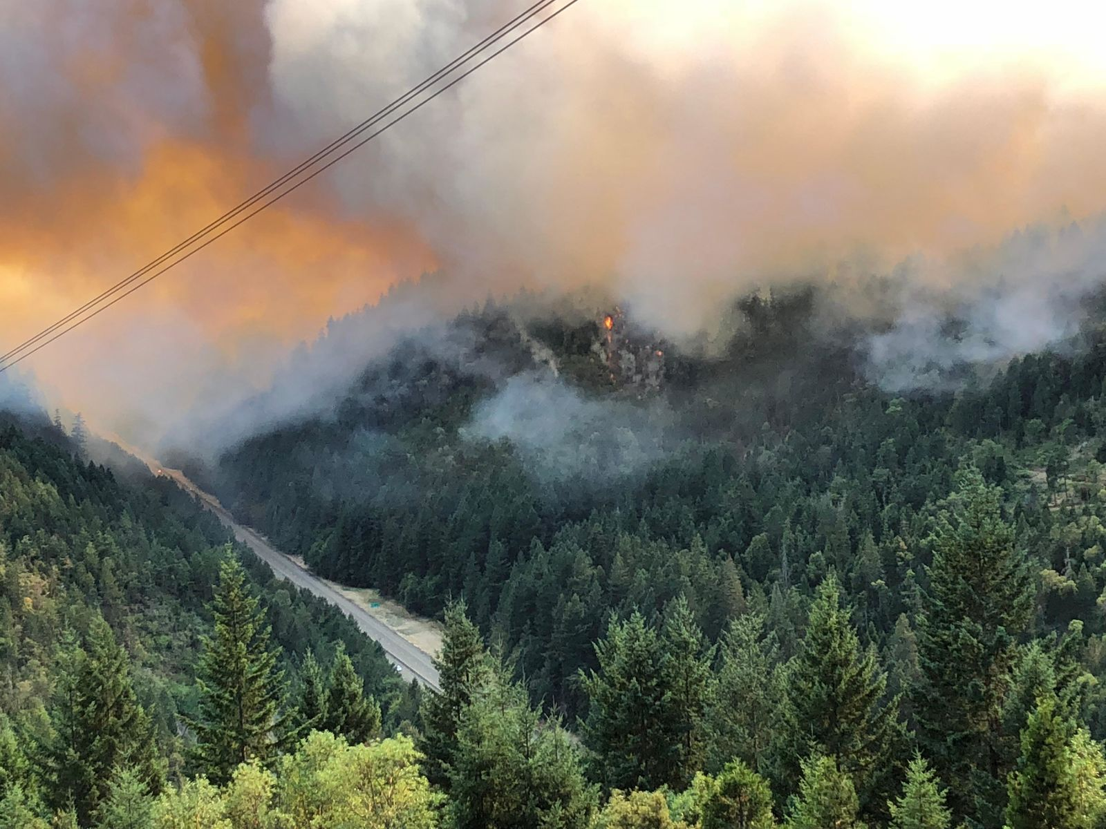 The Milepost 97 Fire burns west of Interstate 5 on July 29, 2019. (ODOT/CC by 2.0)<p></p>