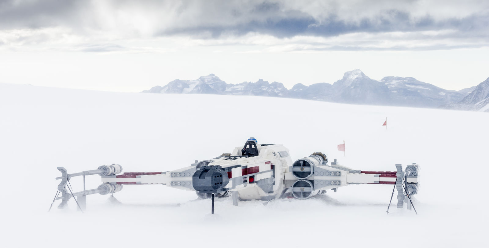 "GRINDELWALD, SWITZERLAND - OCTOBER 04: A LEGO Star Wars X-Wing Starfighter is seen at the Jungfraujoch 'Top of  Europe' in Switzerland at the ""Triple Force Friday"" on October 04, 2019, near Grindelwald, Switzerland. The lifesize LEGO Star Wars X-Wing Starfighter is built out of 2,5 million LEGO bricks and has a size of 10 x 10 meter.  (Photo by Jan Hetfleisch/Getty Images for the LEGO Group)"