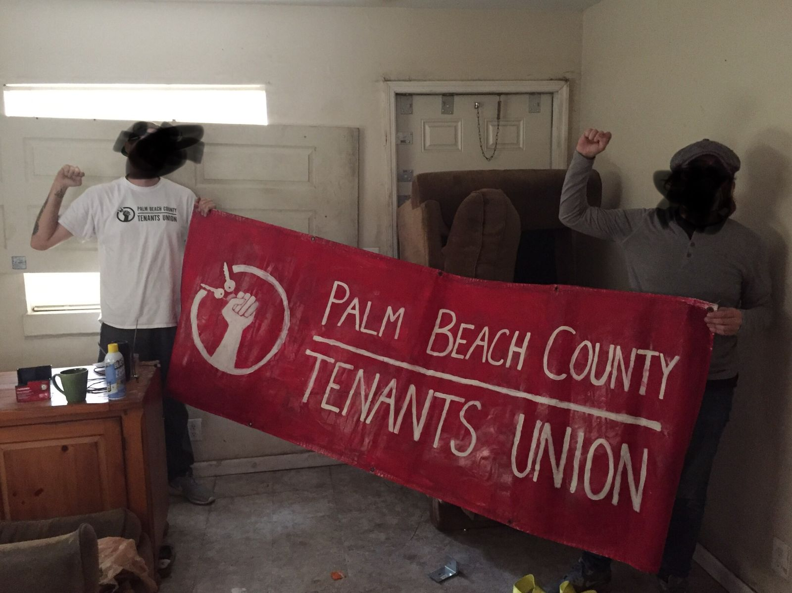 Members of the Palm Beach County Tenants Union barricaded themselves in an apartment at Stonybrook Friday afternoon ahead of evictions. (Palm Beach County Tenants Union)
