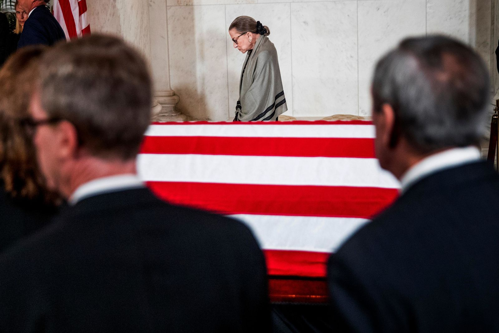 Associate Justice Ruth Bader Ginsburg is the last justice to leave a private ceremony in the Great Hall of the Supreme Court in Washington, Monday, July 22, 2019, where the late Supreme Court Justice John Paul Stevens lies in repose. (AP Photo/Andrew Harnik, pool)