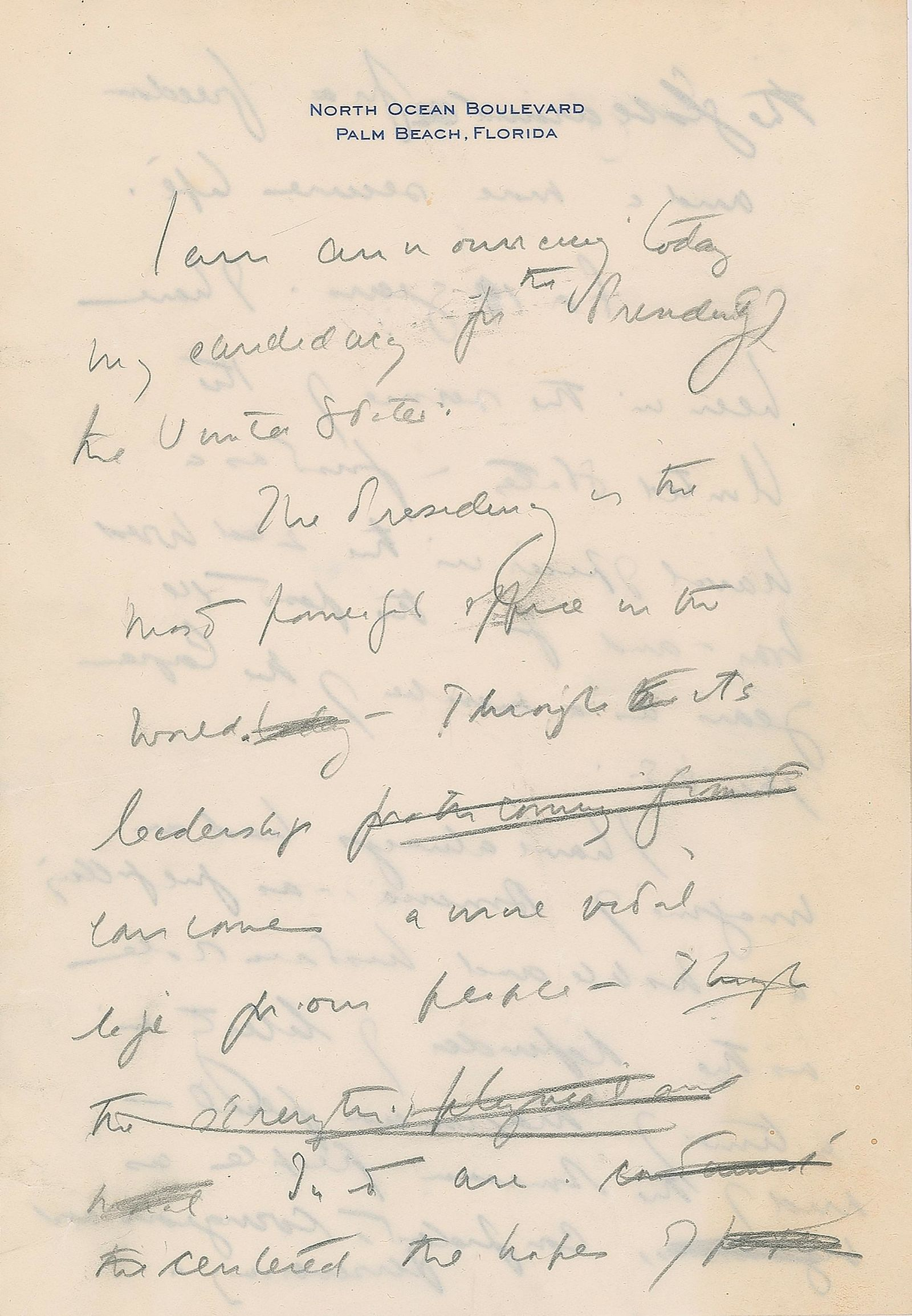 This December 2019, image released by RR Auction shows the first page of a handwritten draft of the 1960 speech by John F. Kennedy announcing his intention to run for president. . (Nikki Brickett/RR Auction via AP)