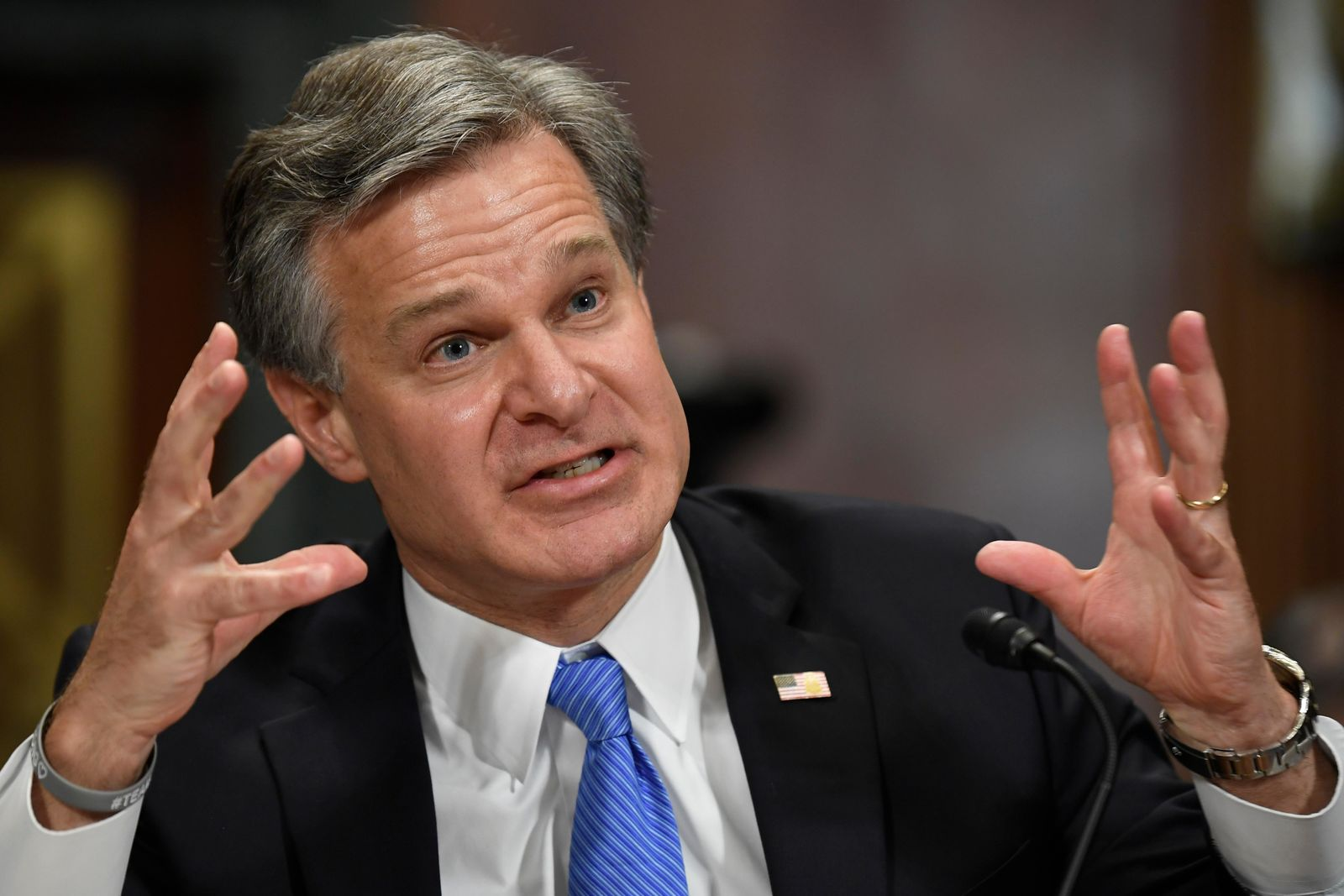 FBI Director Christopher Wray testifies before the Senate Judiciary Committee on Capitol Hill in Washington, Tuesday, July 23, 2019.{ } (AP Photo/Susan Walsh)